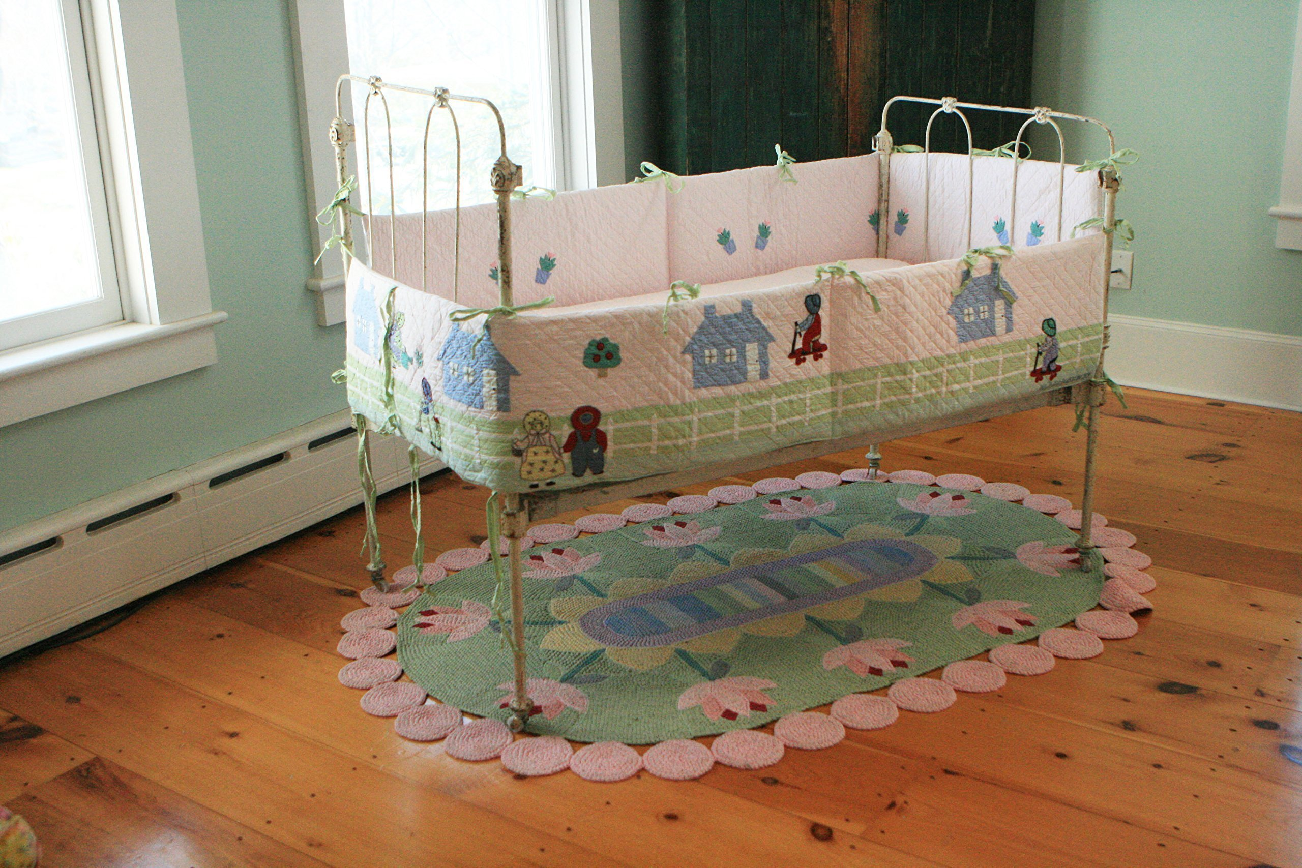 Designed by Judi Boisson.'' Katy and her Neighbors''-Home, Where Little Girls want to Live-Garden Where Little Girls want to Play, Neighbors,Where Little girls like to Share. Washable.