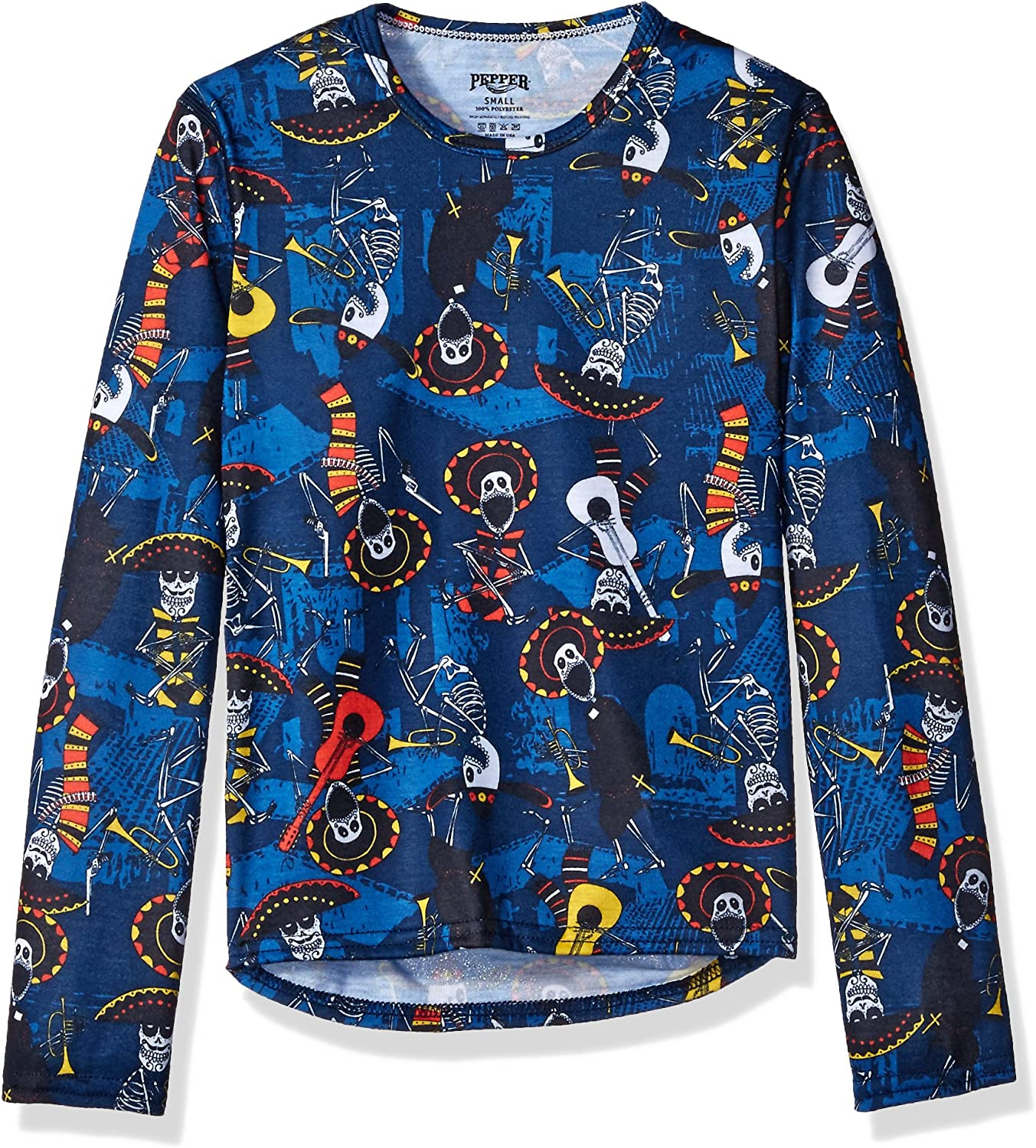 Hot Chillys Youth Pepper Skins Print Crewneck, Mariachi-Navy, Small