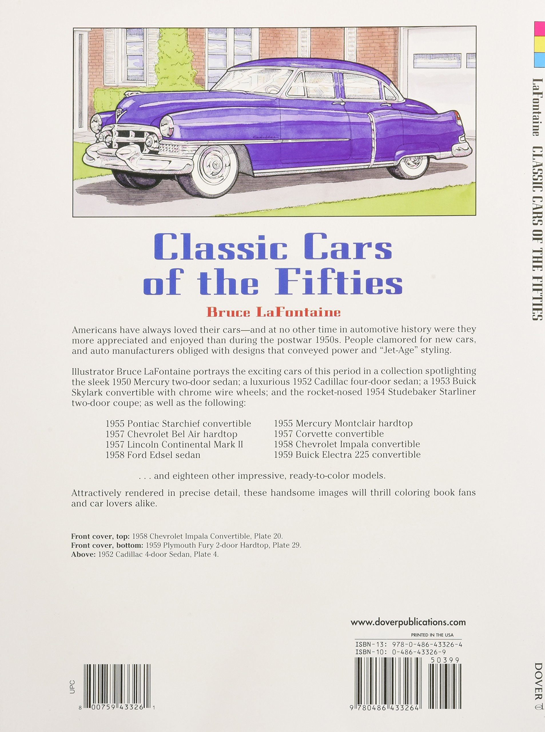 Classic Cars Of The Fifties Bruce Lafontaine 9780486433264 Books 1957 Chevy Bel Air Convertible Colors