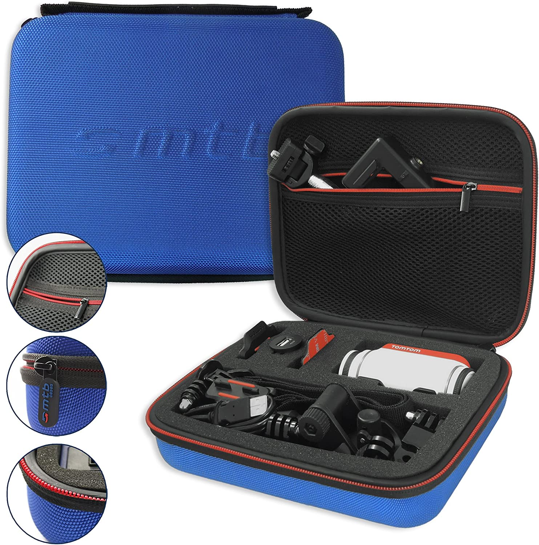 mtb more energy® Estuche (XL, Azul) para Garmin Virb Elite, X, XE/Contour Roam 3 / Ghost-S/Tomtom Bandit. - Bolsa Funda Sistema Modular