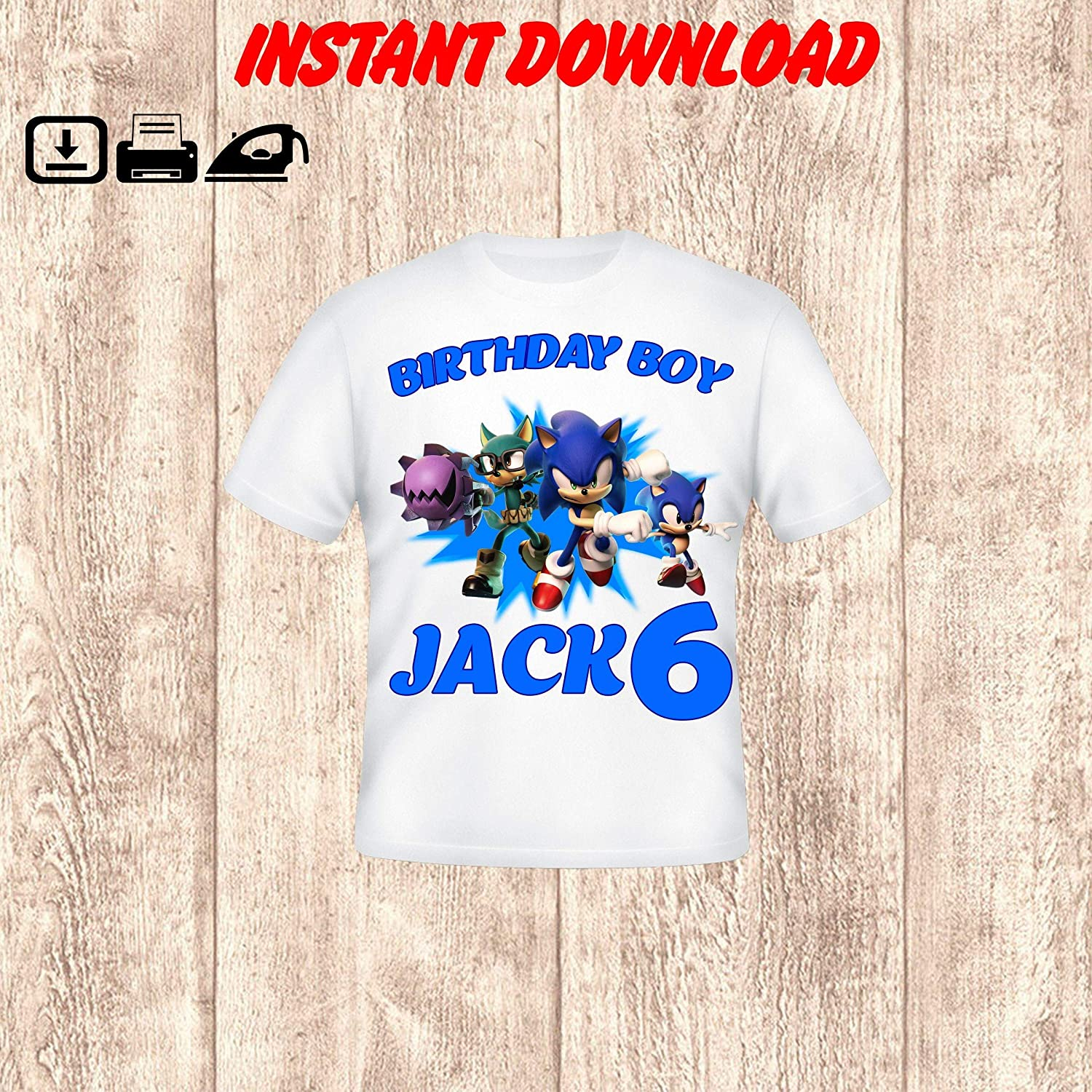 Amazon Com Sonic Birthday Boy Iron On Transfer Sonic The Hedgehog Transfer For Shirts Sonic Family Birthday Shirt Sonic The Hedgehog Boy Shirt Digital Handmade
