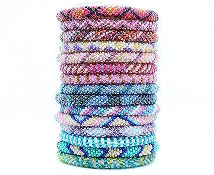 Amazon Com Wholesale Mix Of Nepal Glass Seed Bead Bracelets 6 Pc