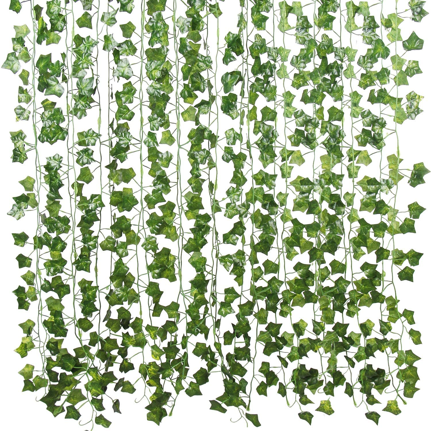 Flojery 78Ft 12pcs Silk Artificial Ivy Vine Hanging Leaves Plant Greenery Decor Party Home Garden Wedding Wall Decor (Green)