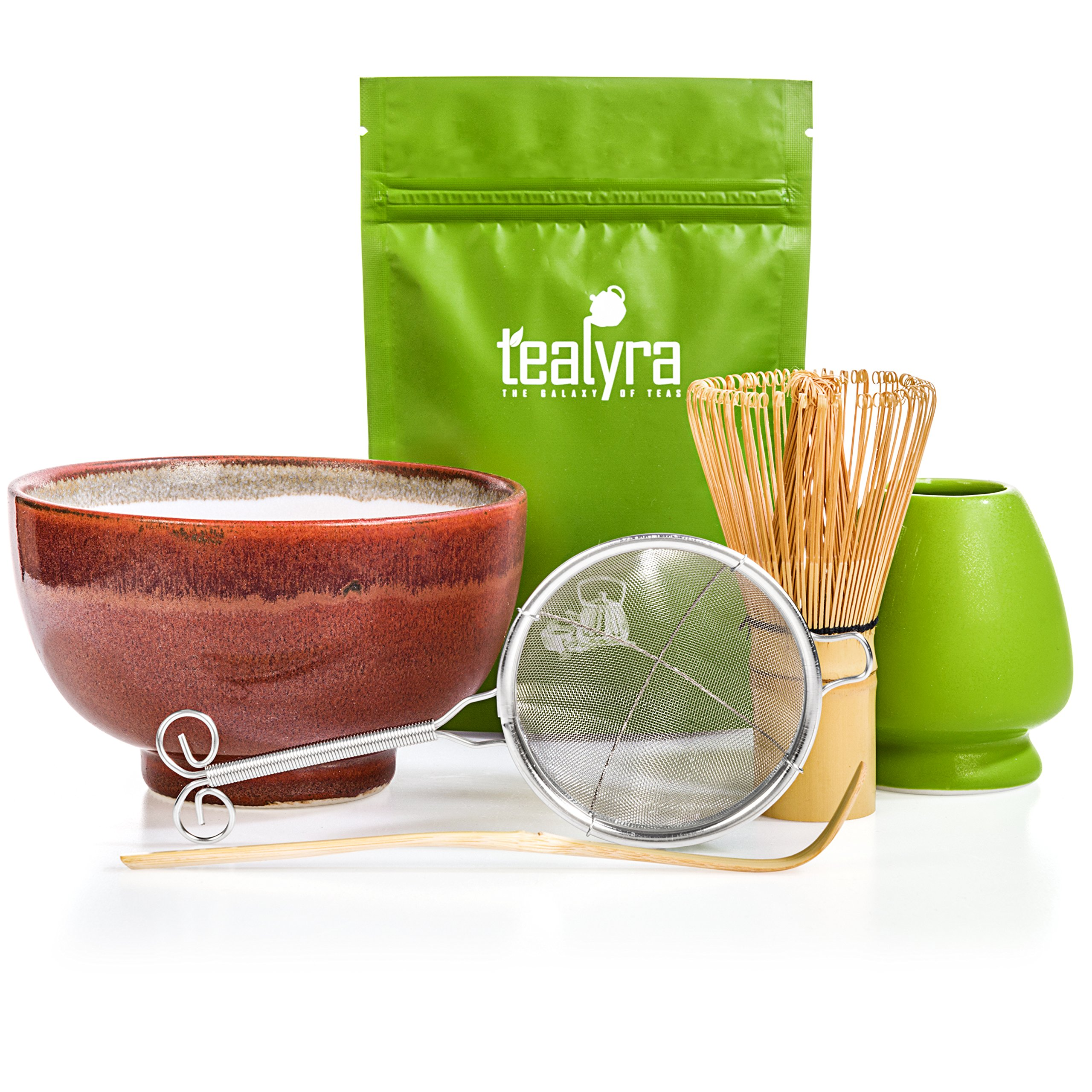Tealyra - Matcha Tea Ceremony Start Up Kit - Complete Matcha Green Tea Gift Set - Premium Matcha Powder - Japanese Made Red Bowl - Bamboo Whisk and Scoop - Holder - Sifter - Gift Box