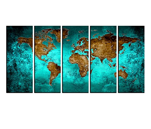 Turquoise Art Decor Large Push Pin World Map Wall Art Canvas Prints  Creative Map Painting Poster Prints Home Wall Decor Ready To Hang Hr78