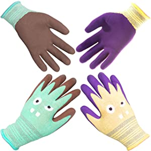 COOLJOB Kids Working Gloves, Kids Gardening Gloves, Kids Ages 9-12, Assorted Colors, 2 Pairs, Large Size