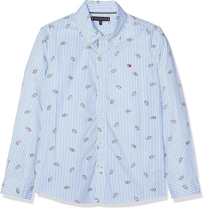 Tommy Hilfiger Printed Shoe Shirt L/s Camisa Manga Larga, Blanco (Bright White/Multi 123), 140 (Talla del Fabricante: 10) para Niños: Amazon.es: Ropa y accesorios