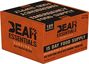 Bear Essentials Survival | 15 Day Emergency Food Supply |189 Servings | 30,260 Calories | 25 Year Shelf Life | Non Perishable MRE Alternative