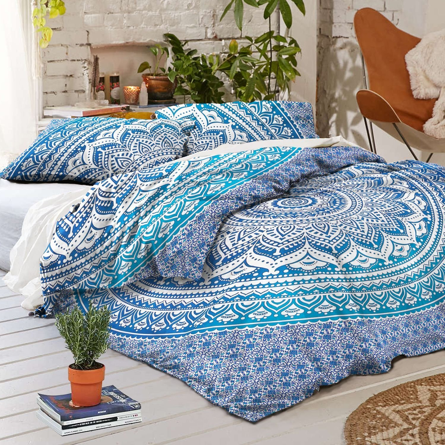 Sophia Art Exclusive Indian Bohemain Full Size Ombre Mandala Tapestry/Wall Hanging Bedding Duvet Quilt Cover with Pilow Duvet Set (Blue)