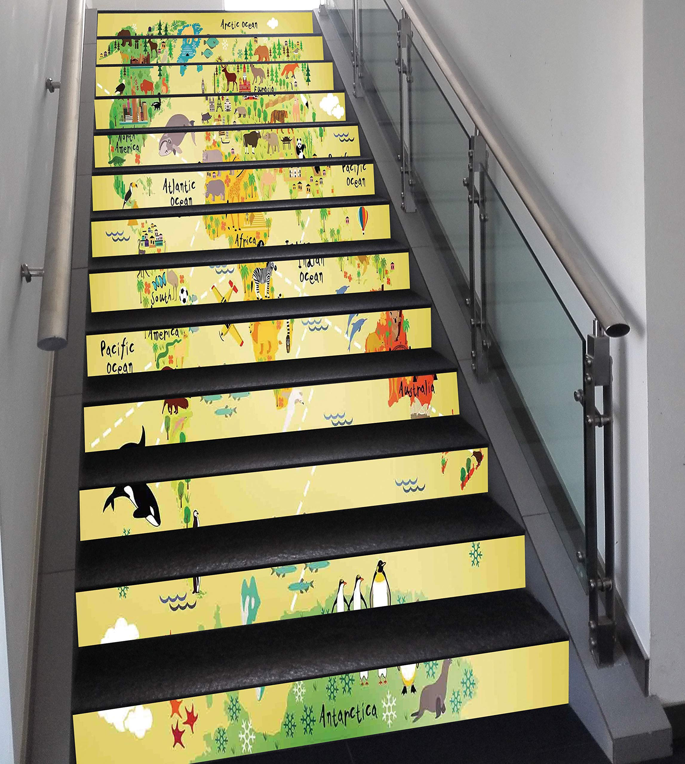 Stair Stickers Wall Stickers,13 PCS Self-Adhesive,Kids Decor,Educational World Map Africa America Penguins Atlantic Pacific Ocean Animals Australia Panda Decorative,Stair Riser Decal for Living Room,