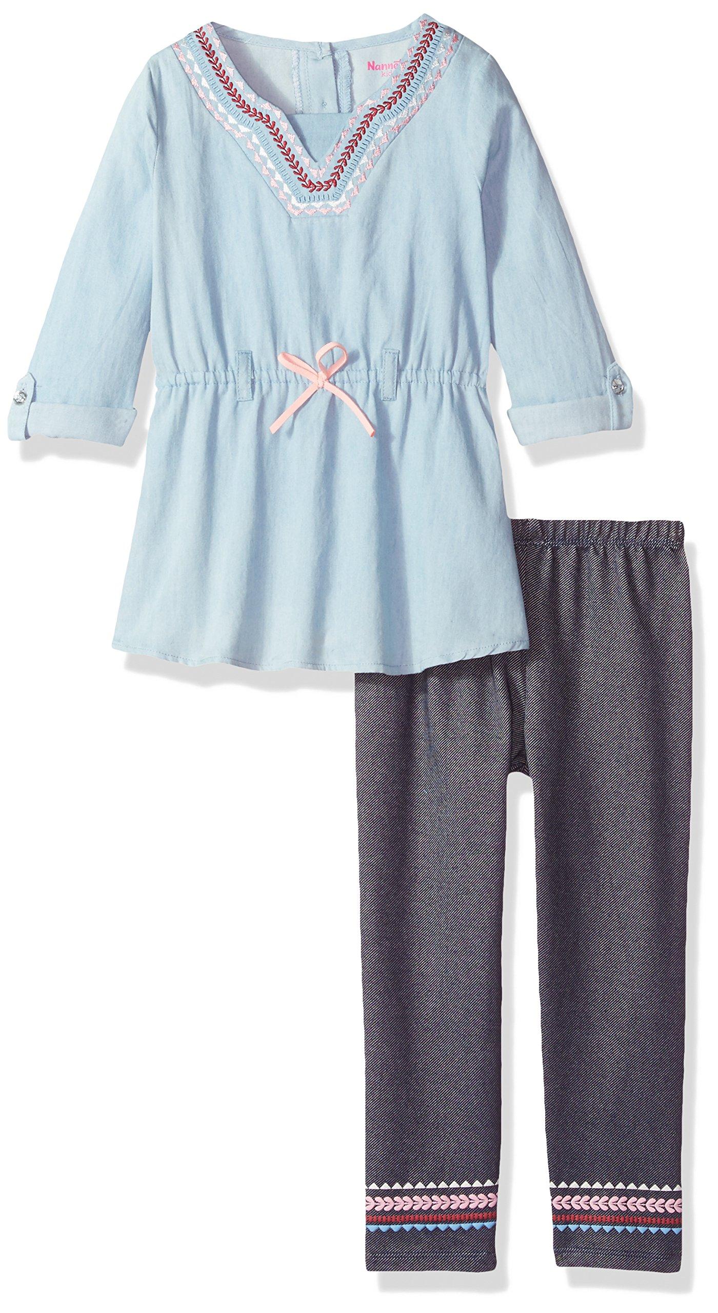 Nannette Little Girls' 2 Piece Chambray Top with Legging Set, Light Blue, 4