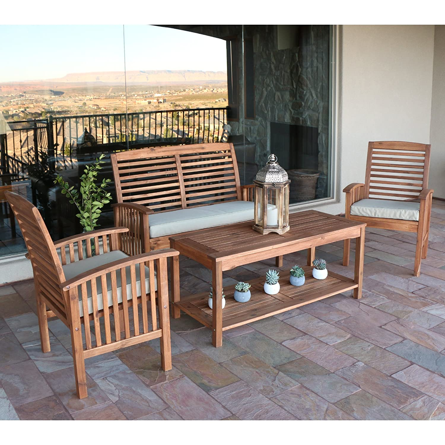 Amazon Walker Edison Solid Acacia Wood 4 Piece Patio Chat