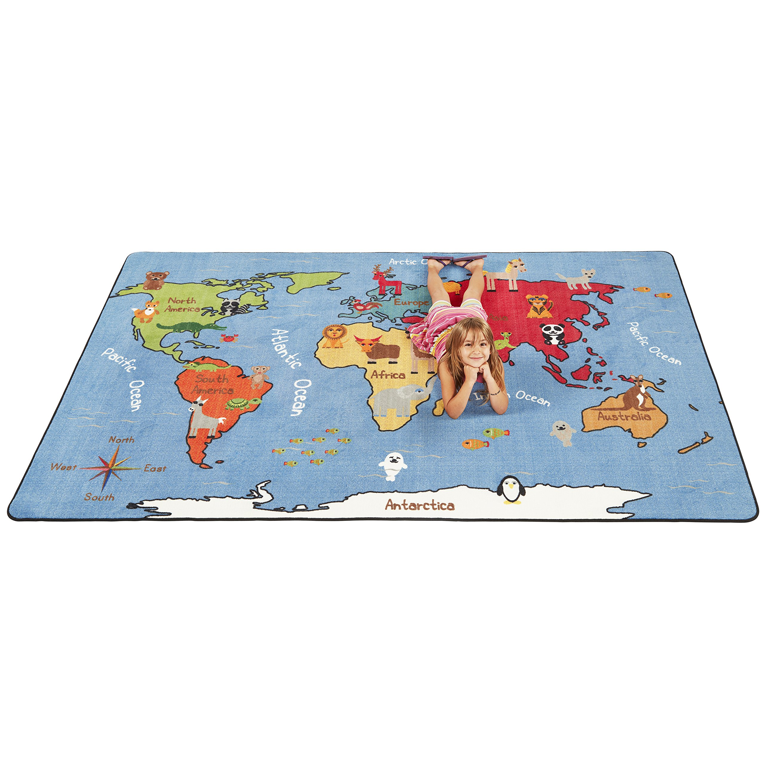 ECR4Kids Animals of the World Educational Activity Rug for Children, School Classroom Learning Carpet, Rectangle, 6 x 9-Feet by ECR4Kids (Image #2)