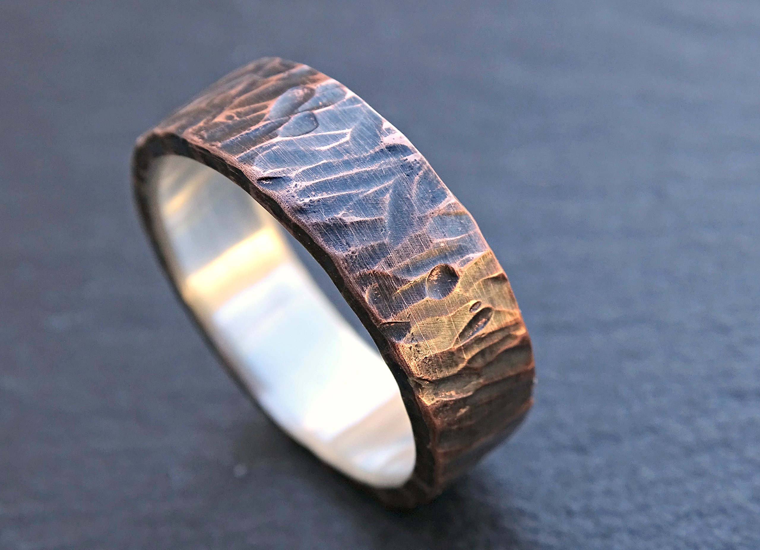 unique wedding band for men, viking ring mens promise ring wood structure, rustic mens ring mixed metal, mens wedding ring two tone, copper anniversary gift
