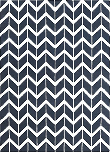 Surya Fallon Jill Rosenwald Chevron Flatweave Area Rug, 8-Feet by 11-Feet, Federal Blue Winter White