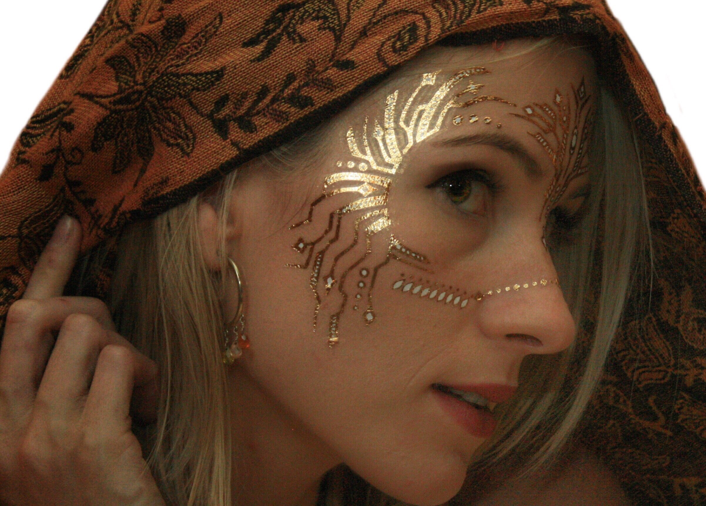 Gold Temporary Tattoos by Golden Ratio Tats, Festival Face Paint, Gold and White Flash Tattoos (CirquiTree Mask) by Golden Ratio Tats (Image #1)