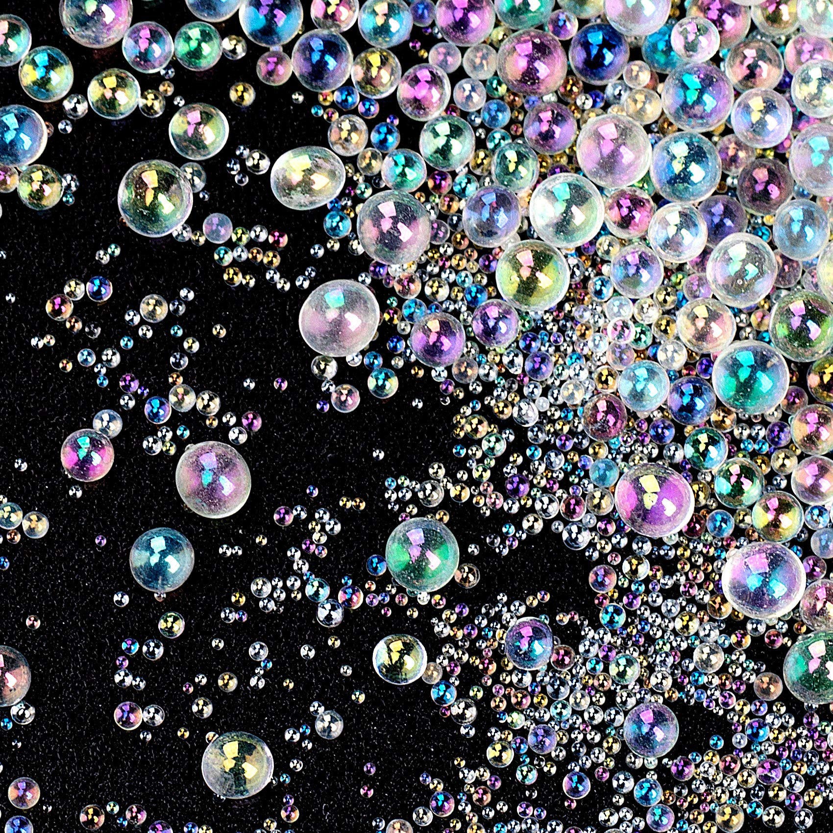 OIIKI 225g UV Resin Bubble Beads, Transparent Iridescent Colored Water Droplet Bubble Beads No Hole Bubble Beads Resin Supplies Accessories for Shaker Resin Molds Fillers Jewelry Making(0.4mm to 3mm)