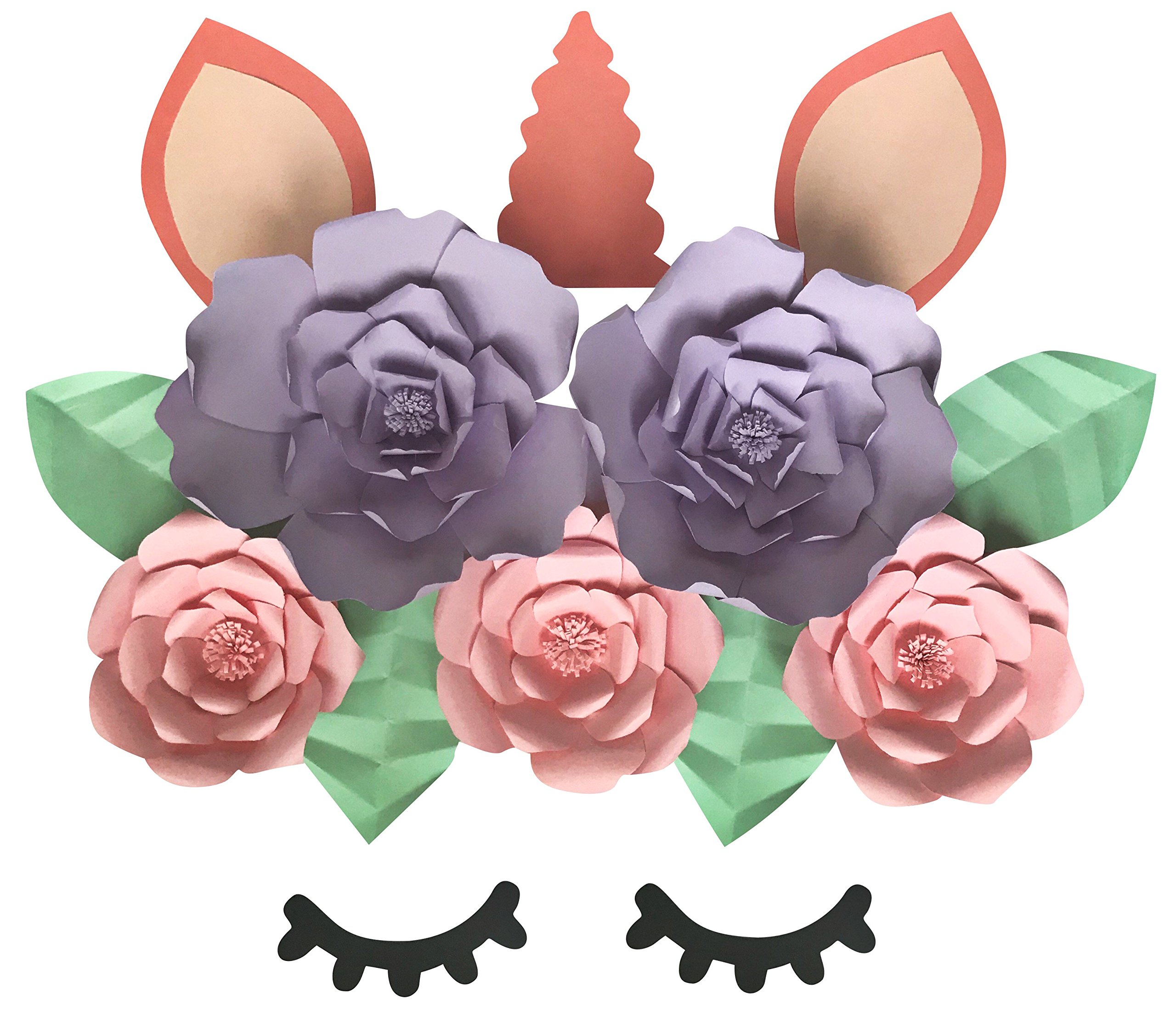 Unicorn Paper Flower Kit - DIY Unicorn Face Paper Flower Backdrop - 120 Piece Set - Unicorn Horn, Ears, and Lashes, 5 Flowers, 4 Leaves (Multi Color Unicorn Set)
