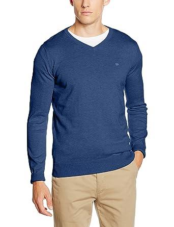TOM TAILOR Herren Pullover Basic V-Neck Sweater, Blau (Indigo Blue Melange  6803