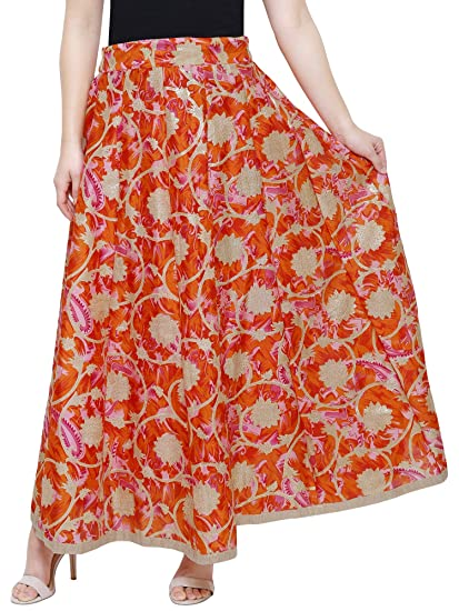 0e1cd525da46f4 DAMEN MODE Women s Skirt Bottom (DMWS6000 Orange   Pink Free Size ...