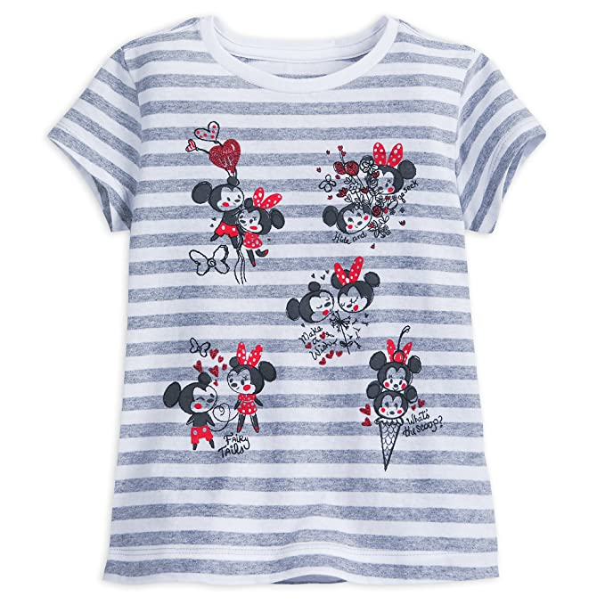 d4b392e4d Amazon.com: Disney Mickey and Minnie Mouse Striped T-Shirt for Girls ...