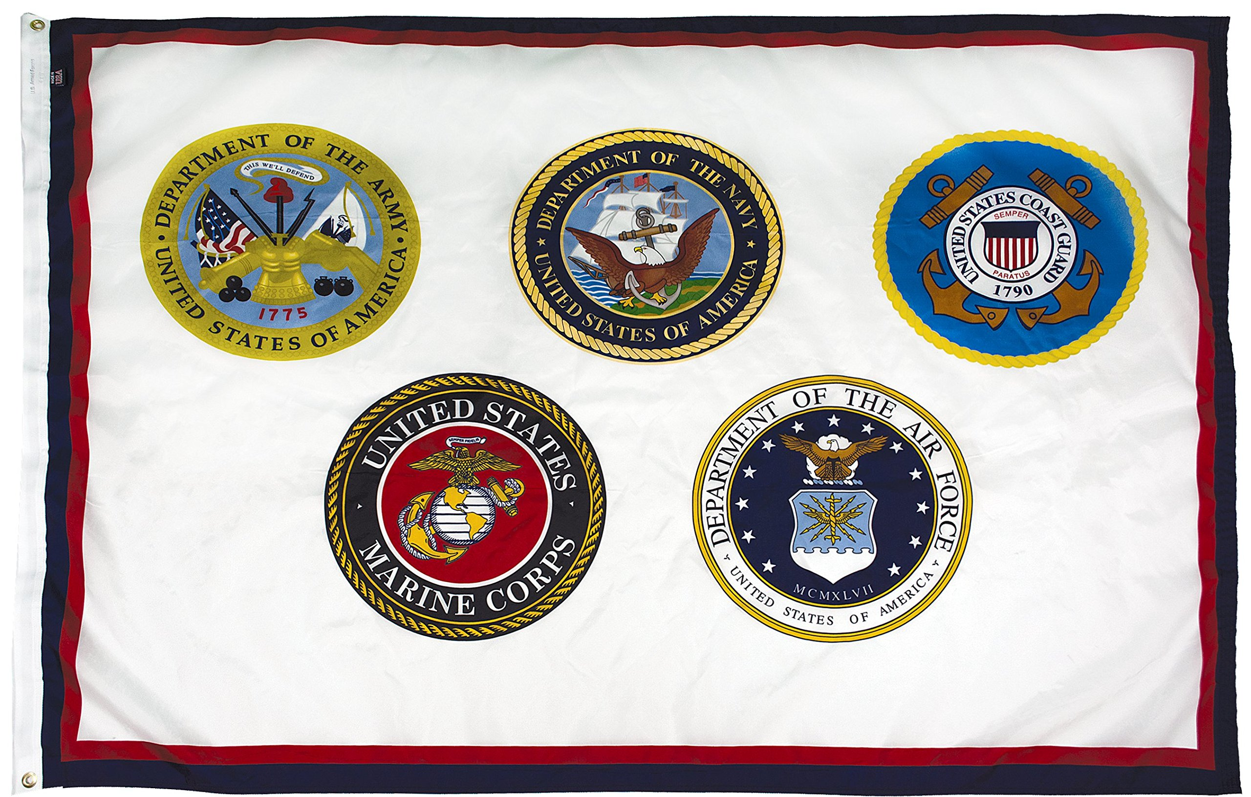 FlagSource U.S. Armed Forces Nylon Military Flag, Made in The USA, 3x5'