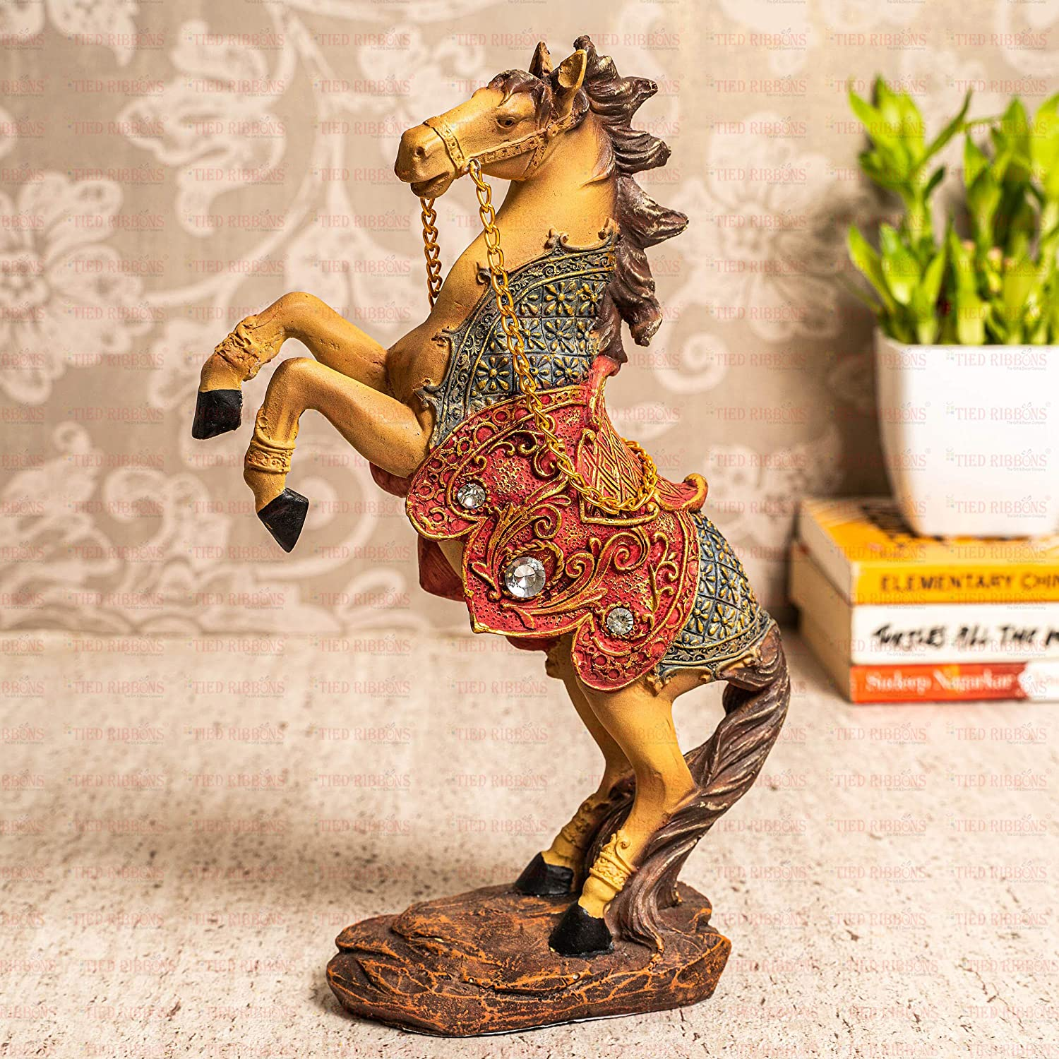 TIED RIBBONS Rearing Horse Showpiece for Good Luck Statue Figurine for Bedroom Home Decorations and Gifts (Polyresin, 15 cm X 18 cm)