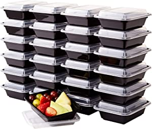 Pro Grade, BPA Free Plastic Containers with Lids, 25ct. 12oz, Leakproof, Microwavable Portion Container for To-Go Orders, Food Prep and Storage. Reusable Bento Boxes for Restaurant, Cafe and Catering