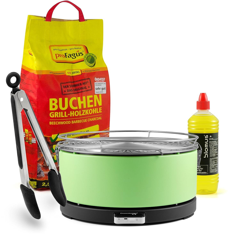 Mayon' Feuerdesign Holzkohle Tischgrill, GRÜN, inkl. 2,5kg Grillkohle, 1L Brennpaste & Gratis Grillzange