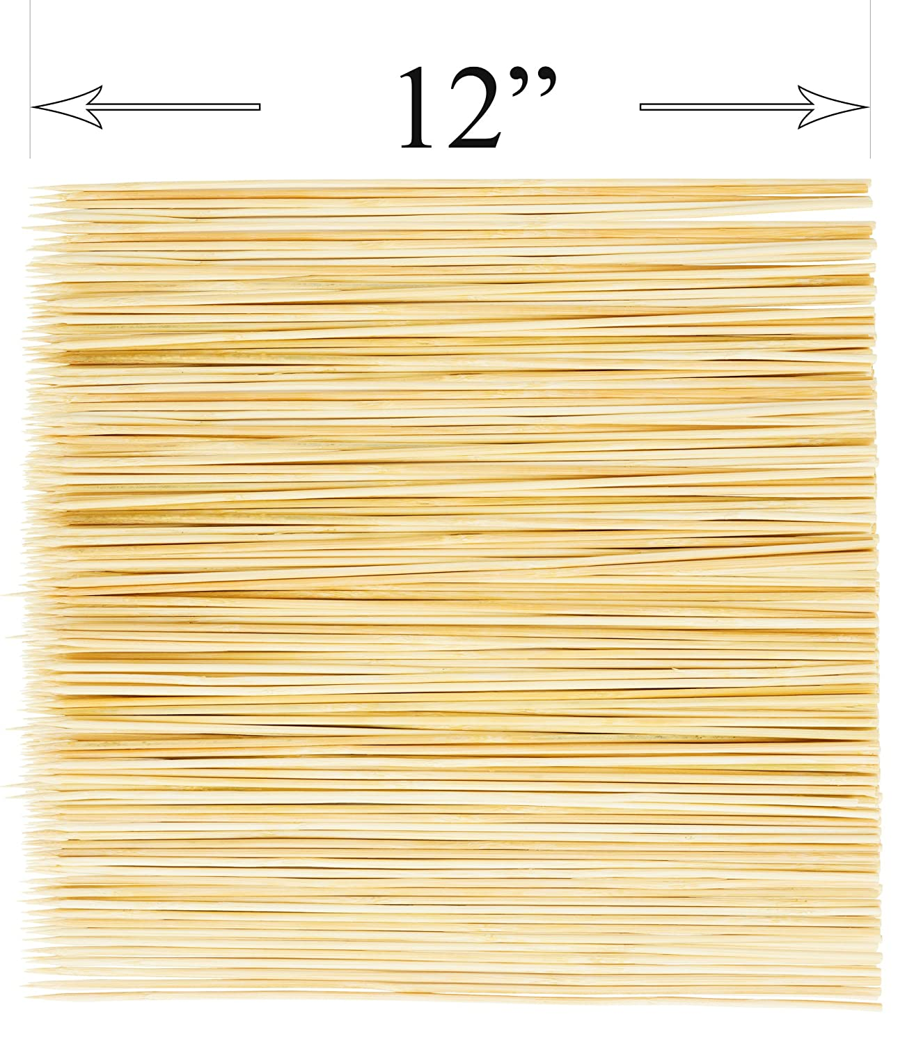 DecorRack Natural Bamboo Skewer Sticks, 400 Pack of 12 inch Natural Wooden Barbecue Kabob Skewers, Best for Grill, BBQ, Kebab, Marshmallow Roasting or Fruit Sticks