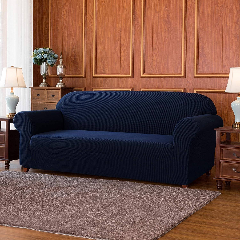 subrtex 1 Pieza Funda Sofa Elasticas Fundas de Sofa Antideslizante Cubierta Forros para Sofas Anti Arañazos Ajustable Protector (3 Plazas, Armada)