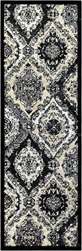 Superior Designer Hayden Area Rug Collection, Intricate Damask Ogee Pattern, 6mm Pile Height with Jute Backing, Affordable and Beautiful Rugs – 2 7 x 8 , Black