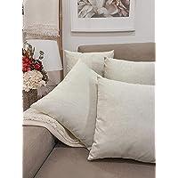 Pack 4 fundas de cojines para sofá EFECTO LINO suave, 16 COLORES fundas para…