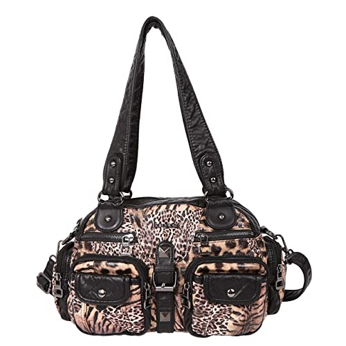 Angelkiss 2 Top Zippers Large capacity Handbags Washed Leather Purses  Shoulder Bags AK18579 (Leopard- c2c55d00dd16e