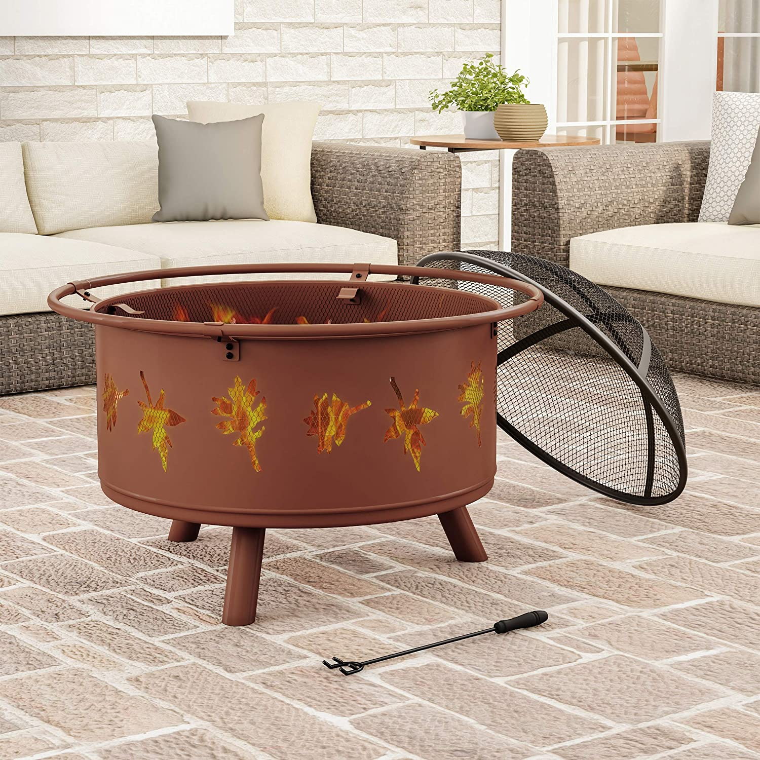 "Pure Garden 50-LG1201 Round Large Steel Bowl with Leaf Cutouts, Mesh Spark Screen, Log Poker & Storage Cover 32"" Outdoor Deep Fire Pit, Brown"