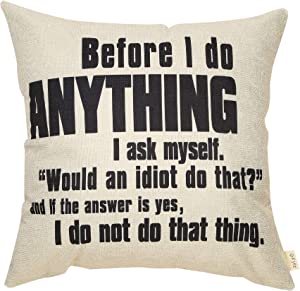 """Fjfz The Office Funny Decoration TV Show Lover Before I do Anything, Dwight Schrute Sign Décor Cotton Linen Home Decorative Throw Pillow Case Cushion Cover for Sofa Couch 18"""" x18"""""""