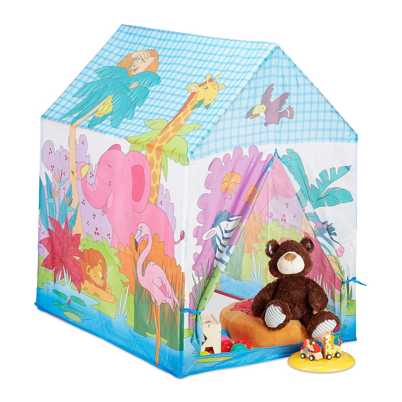 Relaxdays 10024756 - Tenda da Gioco con Animali della Giungla, per la cameretta dei Bambini, per Esterni, a Partire da 3 Anni, in Stoffa HBT, 102 x 72 x 95 cm