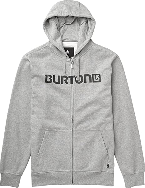 Burton Logo Horizontal - Sudadera con capucha y cremallera para hombre gris gris Talla:S