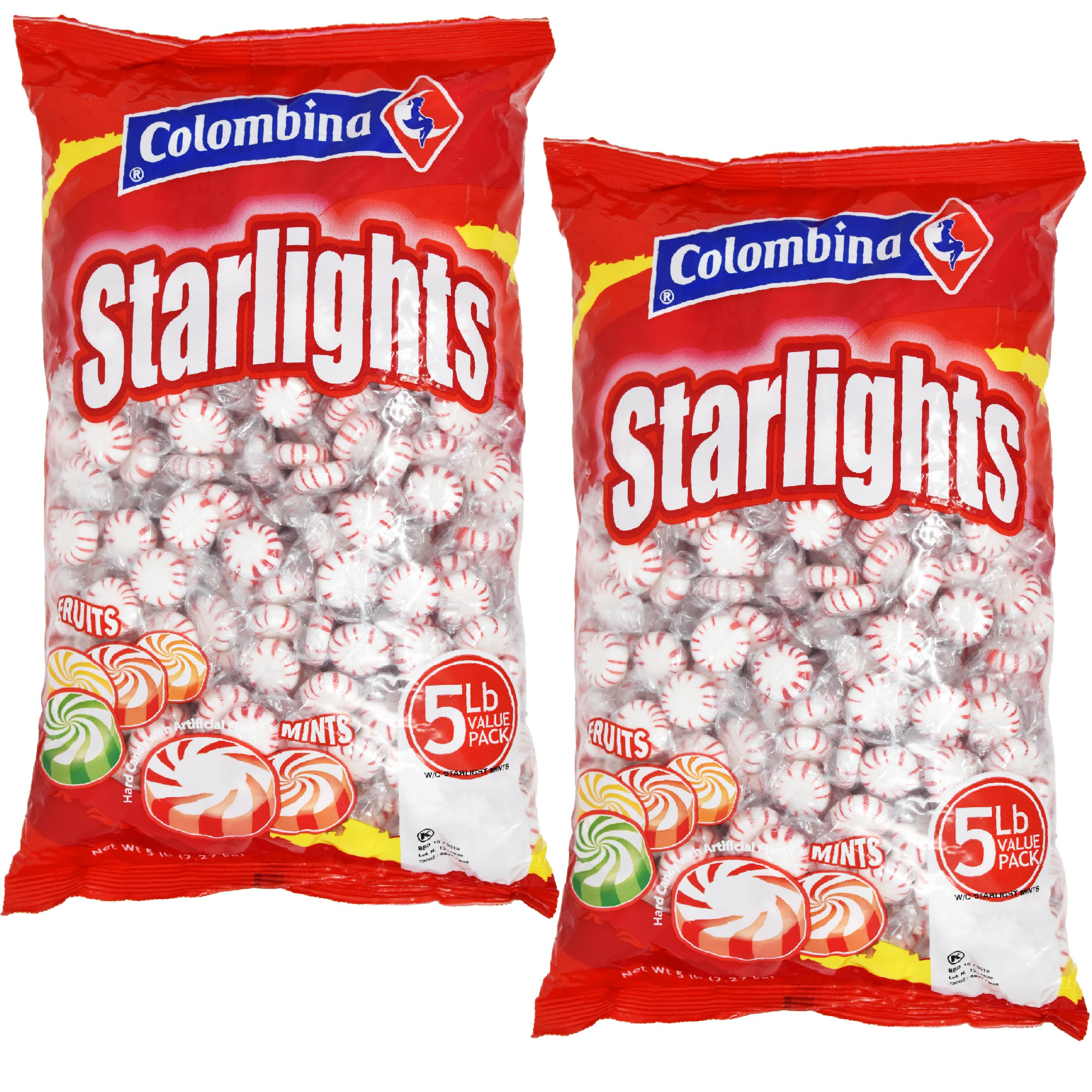 Nosh Pack Peppermint Starlight Mints White Center Individually Wrapped Candy Bulk (10 LB)