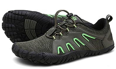 01b7d7ee24 Voovix Herren Damen Barfußschuhe Fitnessschuhe Laufschuhe Minimalistische  Traillaufschuhe Trekkingschuhe Wanderschuhe Outdoor Sneaker im Sommer Grün38