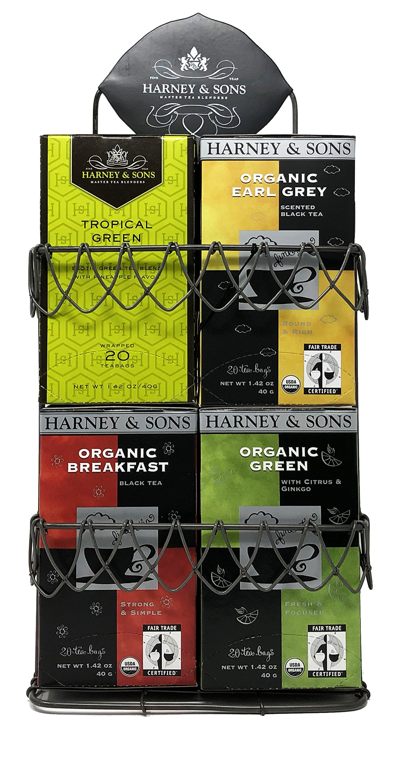 Harney & Sons Organic Tea Variety Sampler with Wire Rack – Great For Kitchens, Break Rooms, Birthday, Hostess and Co-worker Gifts