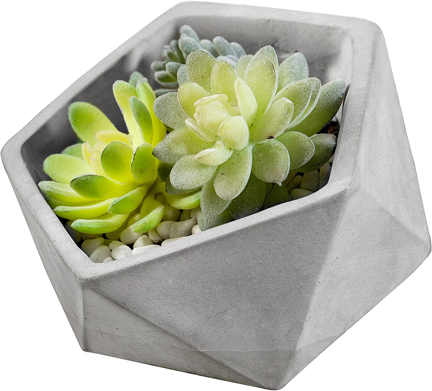 MyGift 6-Inch Triangle-Faceted Tilted Clay Succulent Planter Pot, Gray