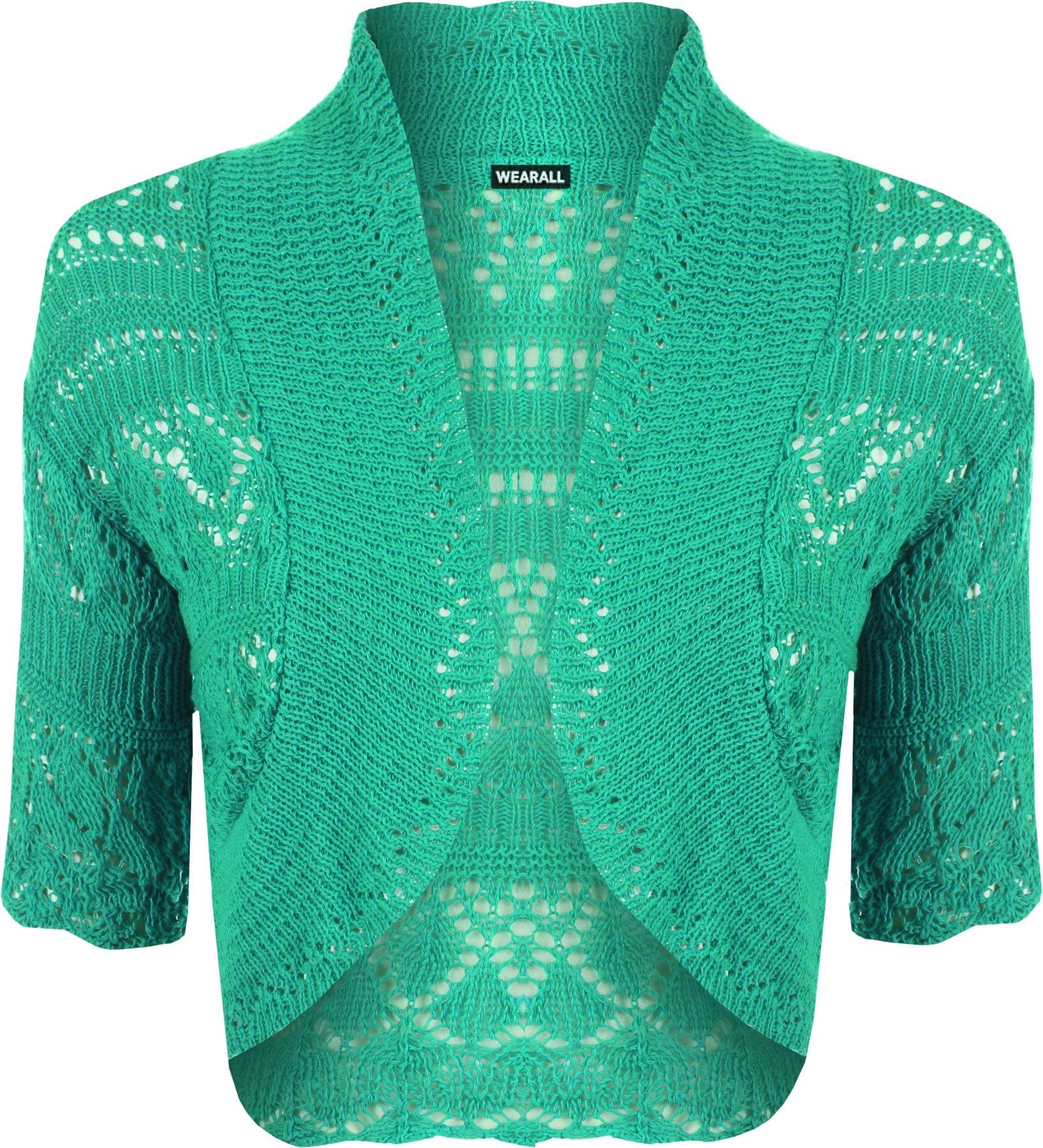 WearAll Womens Knitted Bolero Short Sleeve Shrug - Green - 4-6