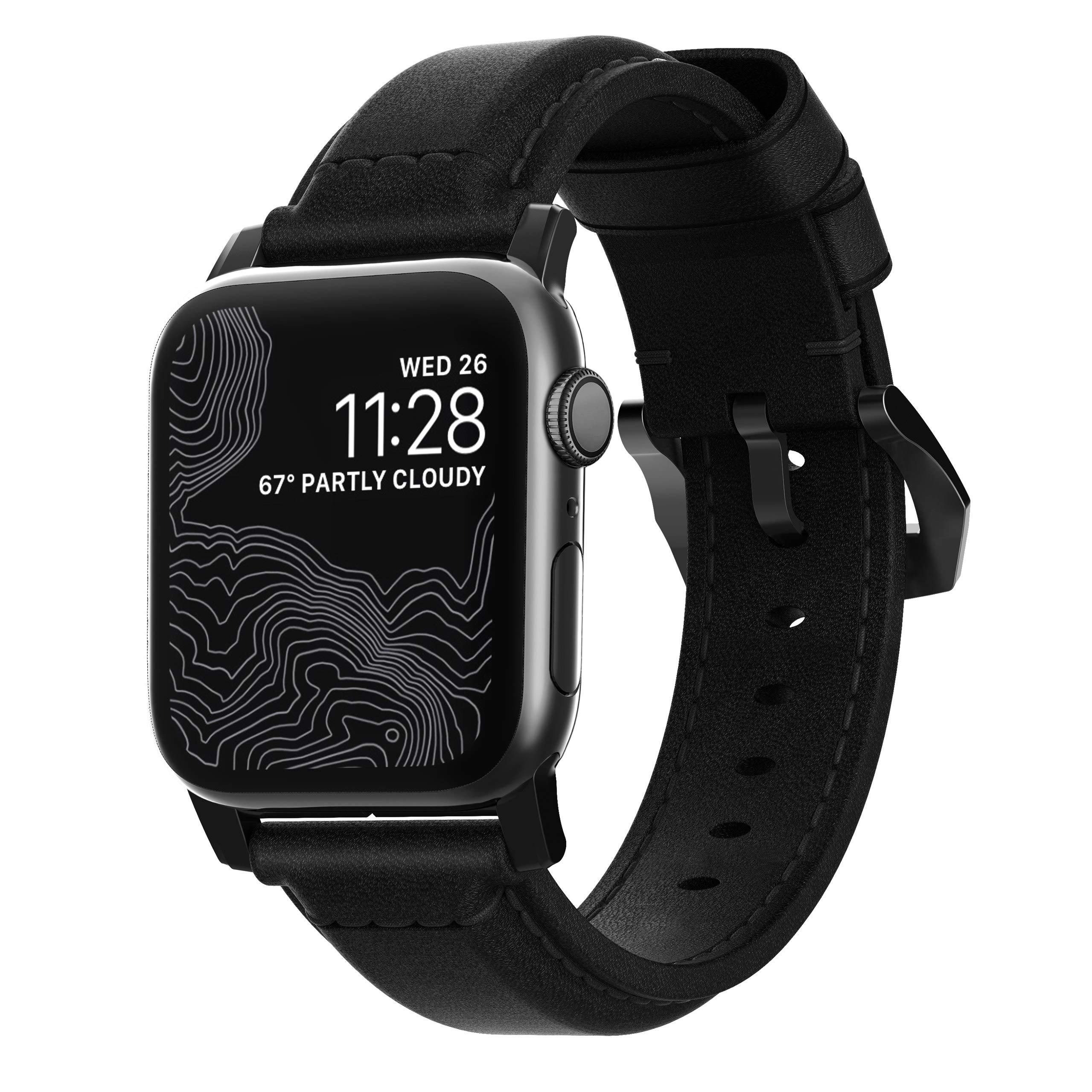 Nomad Traditional Strap for Apple Watch 44mm/42mm | Black Horween Leather | Black Hardware