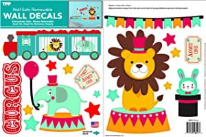 The Peel People Circus Animals Peel and Stick Wall Decals, Nursery Decor