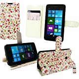 Emartbuy Desktop Stand Wallet Case Cover for Nokia Lumia 635 - Pink/Green