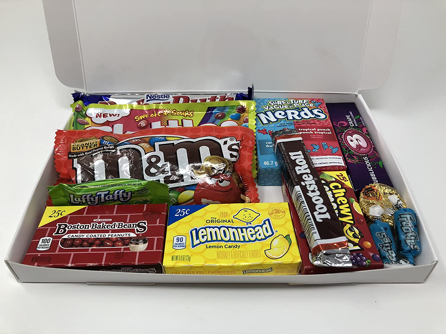 American Candy Box Hamper | Selección de cajas de regalo American Sweets and Chocolate Bar | Surtido incluye M & Ms, Reeses, Nerds, Skittles | 11 ...