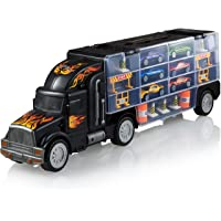 Deals on Play22 Toy Truck Transport Car Carrier w/6 Cars & Accessories