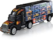 Play22 Toy Truck Transport Car Carrier - Toy Truck Includes 6 Toy Cars & Accessories - Toy Trucks Fits 28 Toy Car Slots - Gre