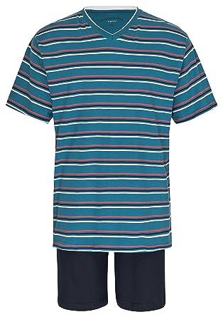 0550500eba9b96 Herren Schlafanzug Kurz Pyjama 100% Baumwolle Gr. M L XL XXL / 50 52 54 56:  Amazon.de: Bekleidung
